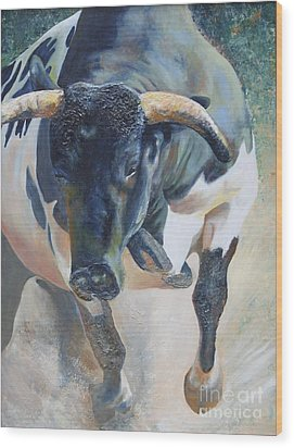 Wood Print featuring the painting El Toro...the Bull by Terri Thompson