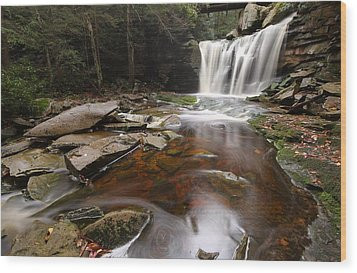 Elakala Falls In West Virginia Wood Print by Jetson Nguyen