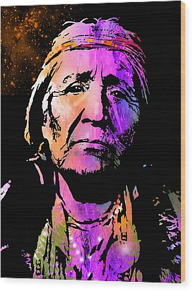 Elderly Hupa Woman Wood Print by Paul Sachtleben
