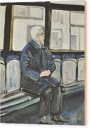 Elderly Lady On 107 Bus Montreal Wood Print by Reb Frost