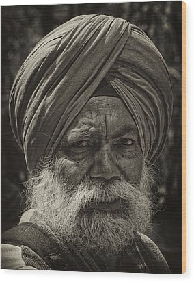 Elderly Sikh  Wood Print