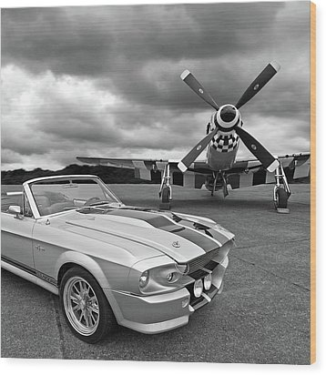 Eleanor Mustang With P51 Black And White Wood Print