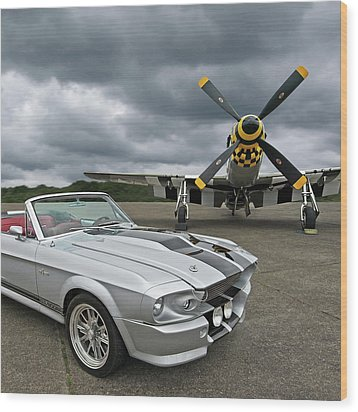 Eleanor Mustang With P51 Wood Print
