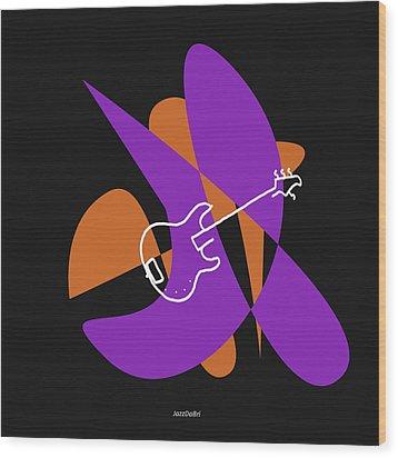 Electric Bass In Purple Wood Print by David Bridburg