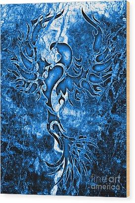 Electric Blue Phoenix Wood Print by Robert Ball