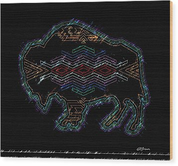 Electric Buffalo Wood Print