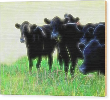 Electric Cows Wood Print by Ann Powell