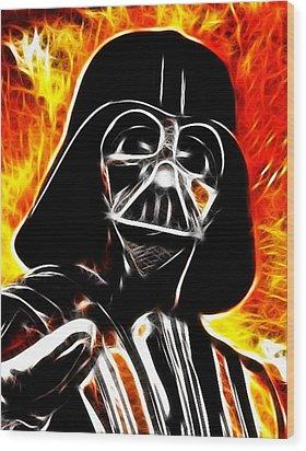 Electric Darth Vader Wood Print by Paul Van Scott