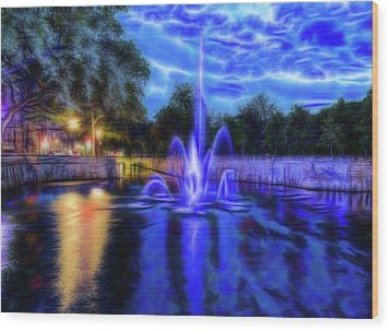 Wood Print featuring the photograph Electric Fountain  by Scott Carruthers