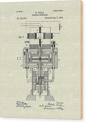 Electric Generator 1894 Patent Art Wood Print by Prior Art Design