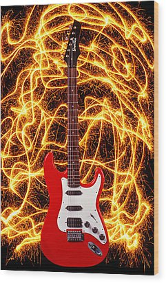 Electric Guitar With Sparks Wood Print by Garry Gay