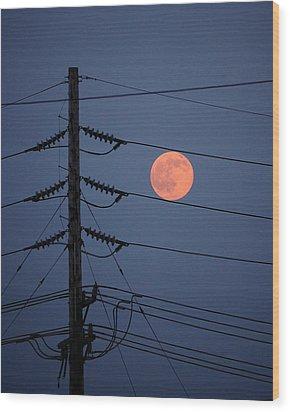 Electric Moon Wood Print