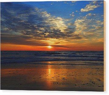 Electric Golden Ocean Sunrise Wood Print by Dianne Cowen