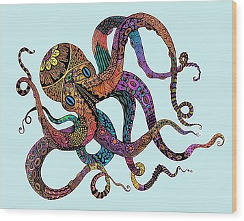 Electric Octopus - Customizable Background Wood Print by Tammy Wetzel