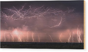 Electric Panoramic V Wood Print