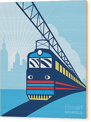 Electric Passenger Train Wood Print by Aloysius Patrimonio