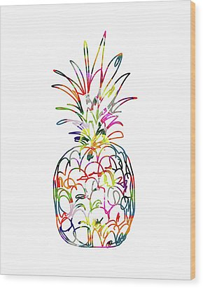Electric Pineapple - Art By Linda Woods Wood Print by Linda Woods