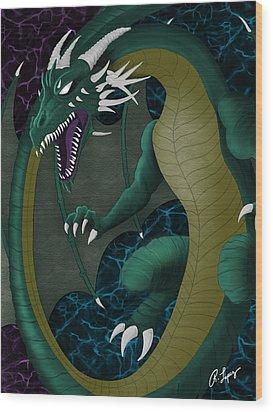 Electric Portal Dragon Wood Print