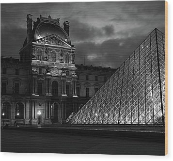 Wood Print featuring the photograph Electric Pyramid, Louvre, Paris, France by Richard Goodrich