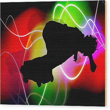 Electric Spectrum Skateboarder Wood Print by Elaine Plesser