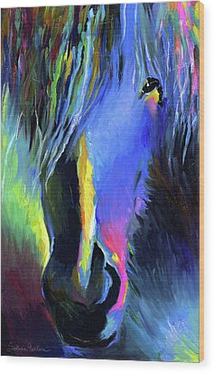 electric Stallion horse painting Wood Print by Svetlana Novikova