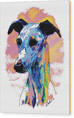 Electric Whippet Wood Print by Kathleen Sepulveda