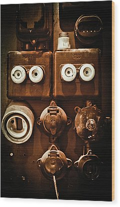Electrical Panel Wood Print by Bobby Villapando
