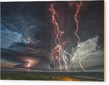 Electrical Storm Wood Print