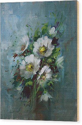 Elegant Blossoms Wood Print by David Jansen