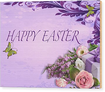 Elegant Easter Card Wood Print