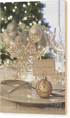 Elegant Holiday Dinner Table With Focus On Place Card Wood Print by Sandra Cunningham