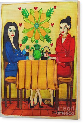Wood Print featuring the painting Elegant Ladies In A Coffee-shop by Don Pedro De Gracia