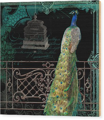 Elegant Peacock Iron Fence W Vintage Scrolls 4 Wood Print by Audrey Jeanne Roberts