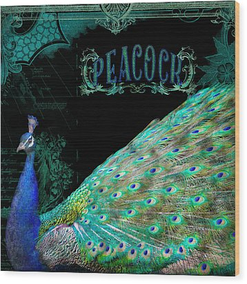Elegant Peacock W Vintage Scrolls Typography 4 Wood Print by Audrey Jeanne Roberts