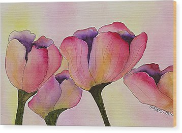 Elegant Tulips  Wood Print by Mary Gaines