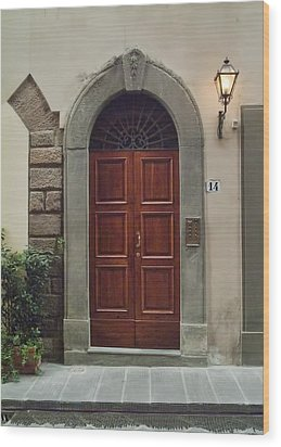 Wood Print featuring the photograph Elegant Tuscan Door by Michael Flood