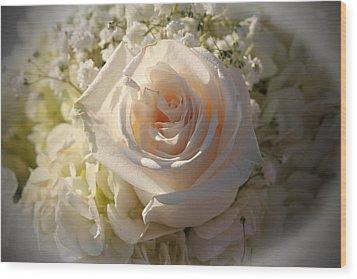 Elegant White Roses Wood Print by Cynthia Guinn