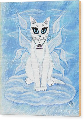 Elemental Air Fairy Cat Wood Print by Carrie Hawks