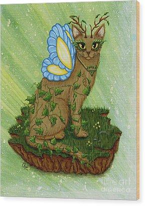Elemental Earth Fairy Cat Wood Print