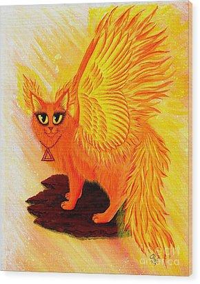 Elemental Fire Fairy Cat Wood Print