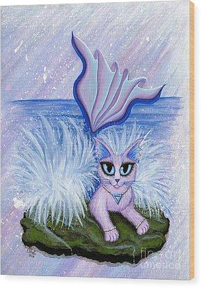 Elemental Water Mermaid Cat Wood Print