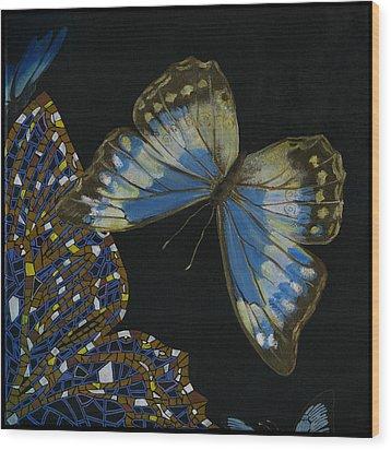 Wood Print featuring the painting Elena Yakubovich - Butterfly 2x2 Top Right Corner by Elena Yakubovich