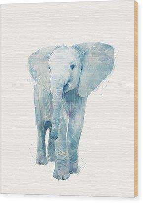 Elephant Wood Print by Amy Hamilton