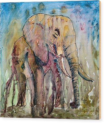 Elephant Wood Print by Anastasis  Anastasi