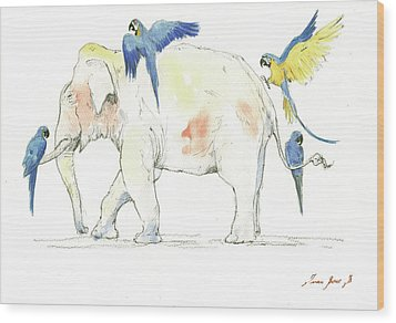 Elephant And Parrots Wood Print by Juan Bosco
