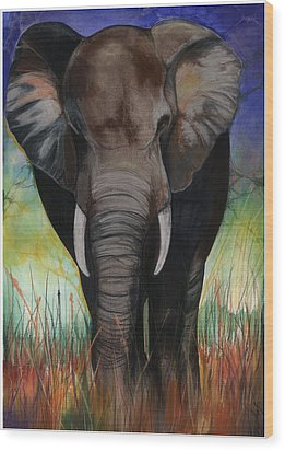 Elephant Wood Print by Anthony Burks Sr