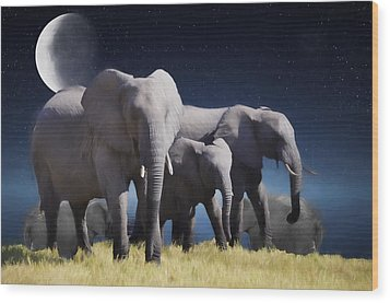 Elephant Bath Time Painting Wood Print by Ericamaxine Price