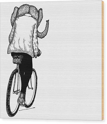 Elephant Bike Rider Wood Print by Karl Addison