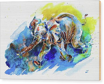 Wood Print featuring the painting Elephant Calf Playing With Butterfly by Zaira Dzhaubaeva