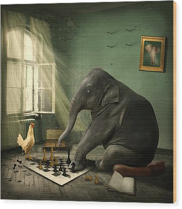 Elephant Chess Wood Print